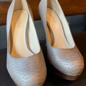 Guess Shoes - Guess Snake Skin Platform Heel